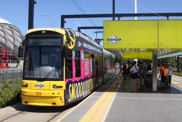 Flexity 103 on arrival at the Entertainment Centre terminus