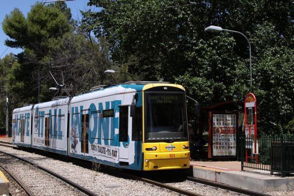 Flexity 101 citybound at the South Terrace stop
