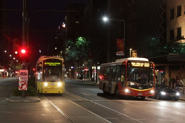 Flexity #102 northbound at Rundle and King William Street