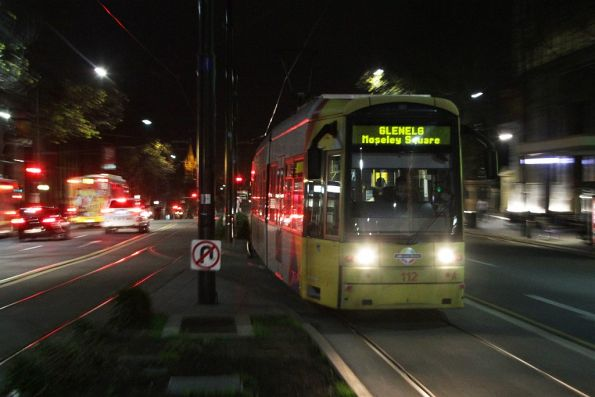 Flexity #112 southbound at Rundle and King William Street
