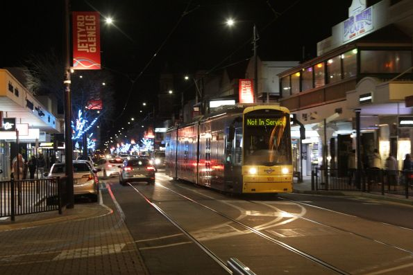 Not in service Flexity #103 arrives at the Glenelg terminus