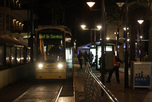 Flexity #103 about to depart Glenelg with a not in service run