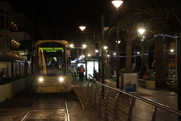 With the Glenelg terminus clear, Flexity #113 waits to depart for the city