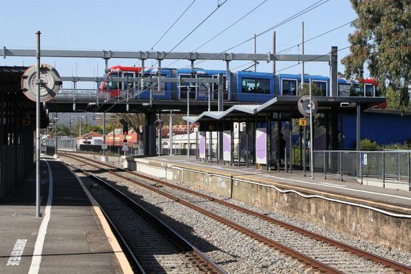 Citadis tram passes over Goodwood station