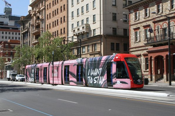 Citadis #206 headed for the Entertainment Centre at North Terrace and King William Street