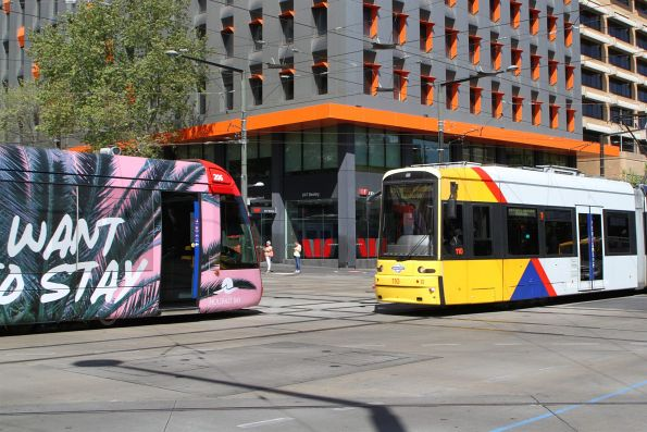 Citadis #206 and Flexity #110 pass at North Terrace and King William Street