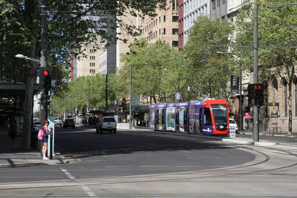 Citadis #203 heads north at King William Street and North Terrace