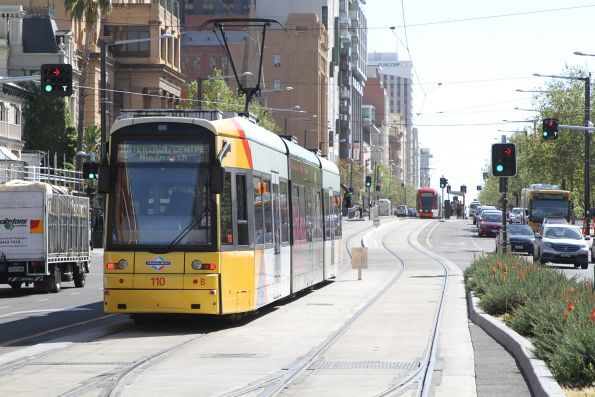 Flexity #110 departs the Botanic Gardens terminus