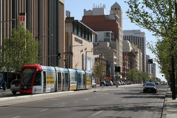Citadis #205 heads west along North Terrace at University