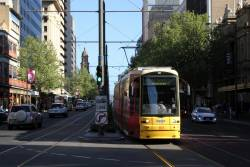 Flexity #103 heads north at King William Street and Rundle Mall