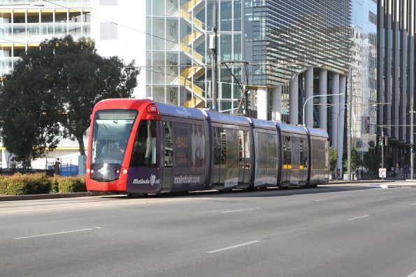 Citadis #203 heads west along North Terrance at Royal Adelaide Hospital