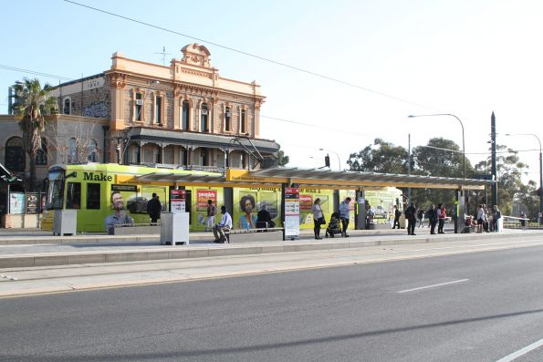 Flexity #104 arrives at the Royal Adelaide Hospital stop