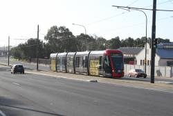 Citadis #204 heads south on Port Road at the Adelaide Gaol