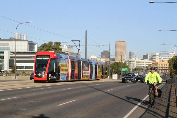 Citadis #205 heads north on Port Road at the Adelaide Gaol