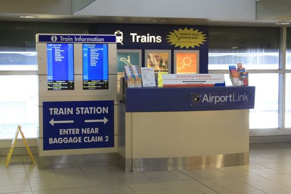 Airport Link information booth at Sydney Airport terminal 2