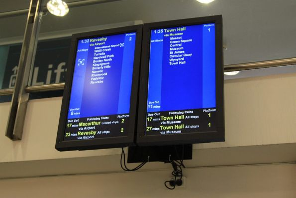 Next train displays for Domestic station located inside Sydney Airport terminal 2