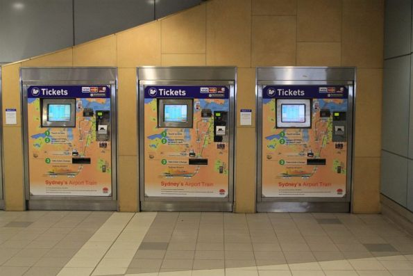 Bank of CityRail ticket machines with Airport Link branding at Domestic station