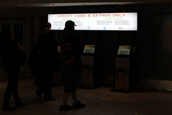 Credit card and Eftpos only ticket machines for the most commonly used stations
