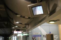 CCTV monitors at Green Square station, located halfway down the curved platform for the use of train guards
