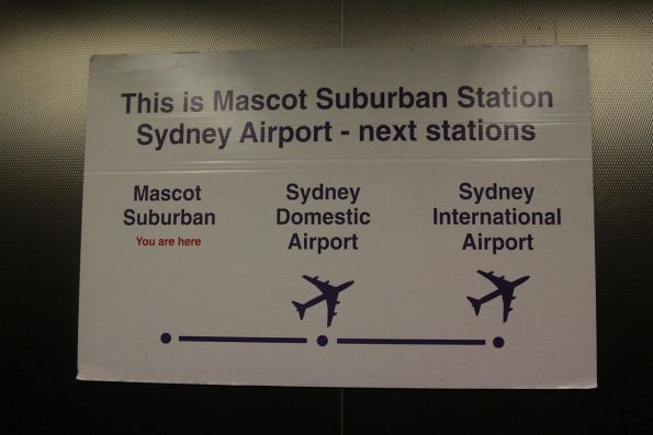 'This is not Sydney Airport' sign at Mascot station