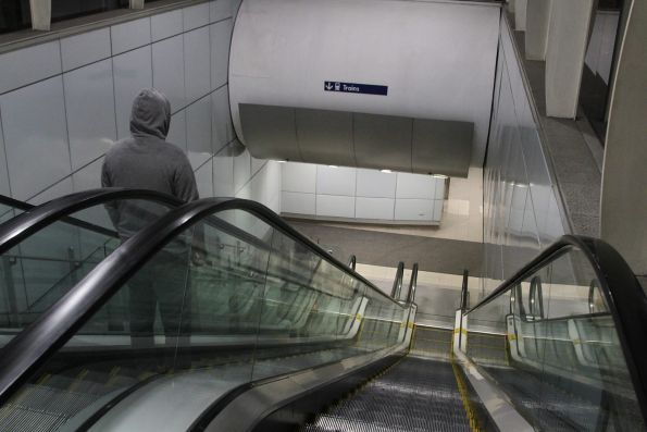 Escalators leading down to the concourse at Mascot station