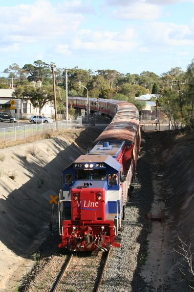 P12 leads on an up push pull into the Geelong tunnel