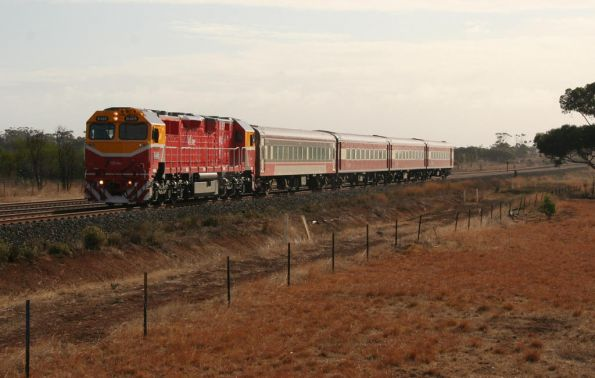 N469 leads a down Warrnambool train outside Lara