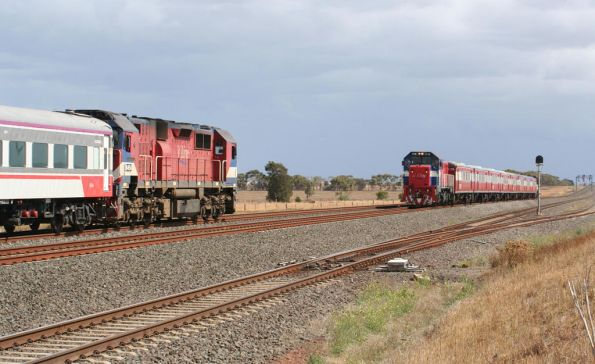 N454 crosses a P class push pull headed the other way