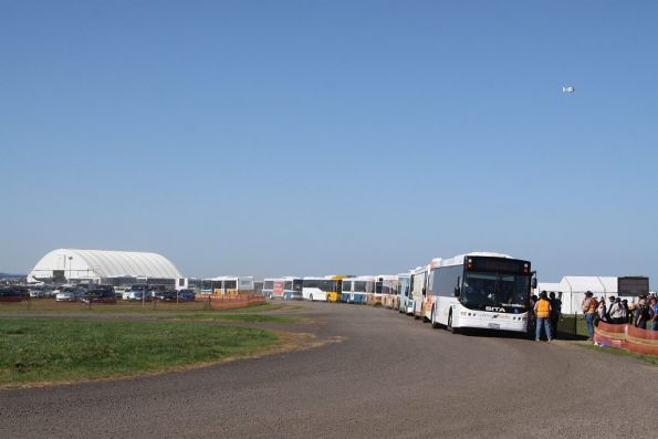 A mix of Kastoria Bus Lines, Sita Buslines and Mitchell Transit buses running airshow shuttles