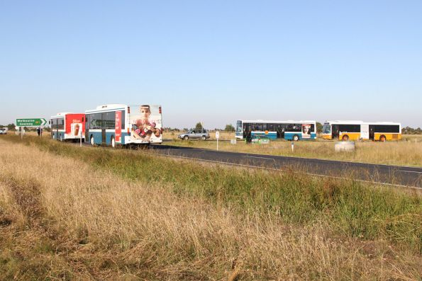 Out on Old Melbourne Road, airshow shuttle buses headed to and from Lara station