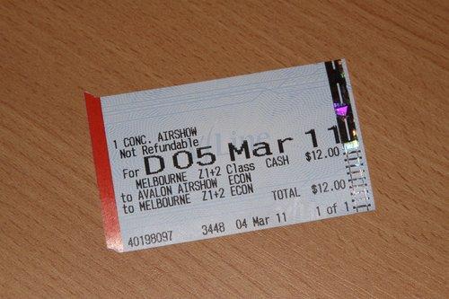 V/Line airshow ticket: