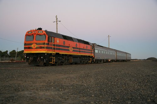 AK cars stabled at Gheringhap for the night before heading westbound