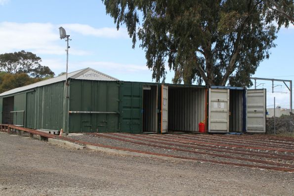 Shipping containers made up the train sheds