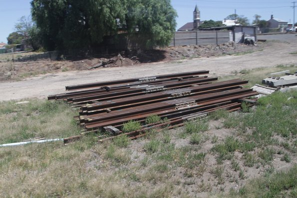 Pile of new insulated rail joints stockpiled at Ararat station
