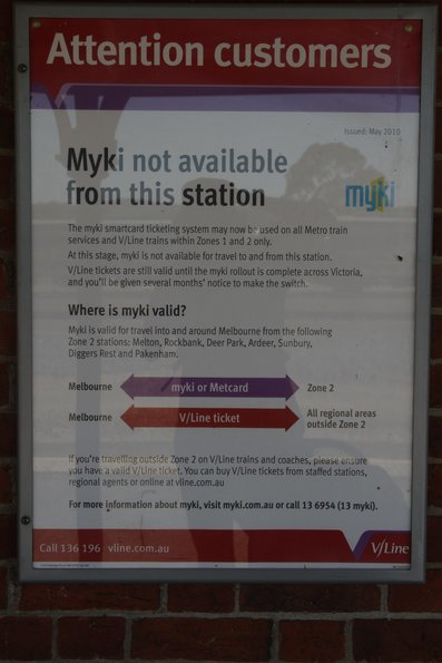 'Myki is not available from this station' poster at Ararat