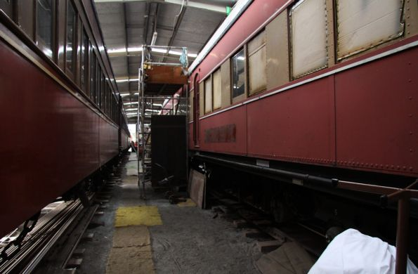Carriages under restoration in the workshop