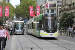 E.6036 heads east in the Bourke Street Mall