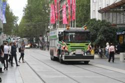 Yarra Trams recovery truck heads through the Bourke Street Mall