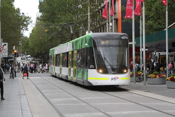 E2.6074 heads west in the Bourke Street Mall