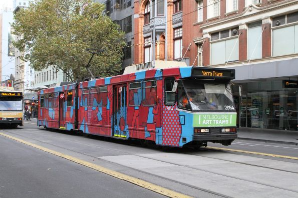 B2.2054 in a Melbourne art tram livery by Stephen Baker on route 59 at Elizabeth and Collins Street