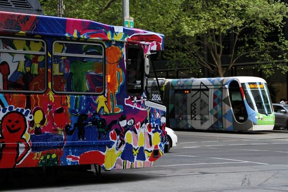 B2.2054 with artwork by the Beaconhills College Year 3 Collective passes 2018 art tram C2.5106 with artwork by Troy Innocent