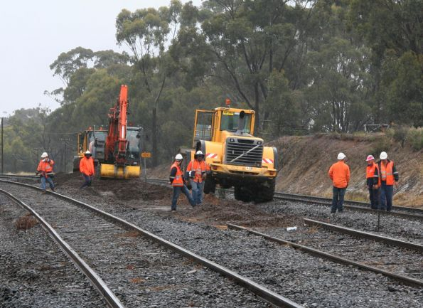 Trackwork on the north east line at the down end of Seymour