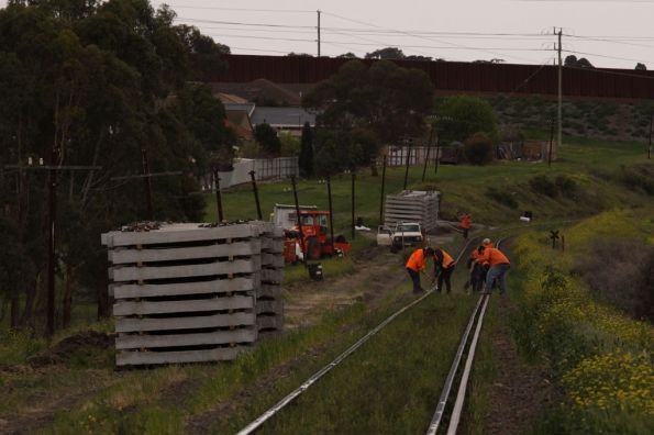 Track workers at Bell Post Hill preparing for resleepering