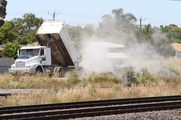 Dumping ballast into the stockpile at the hi-rail access point at Sunshine