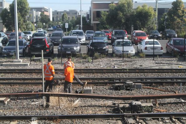 ARTC workers inspect the pointwork at West Footscray Junction