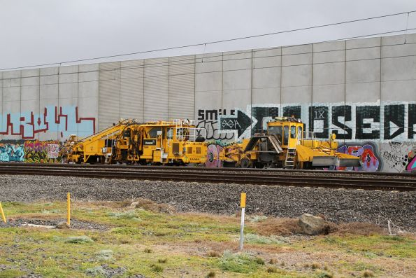 Downer ballast tamper and regulator stabled in the dead end road at CRT Altona North