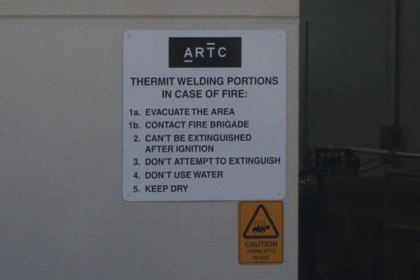 Thermit welding pot warning at the ARTC depot in Kensington