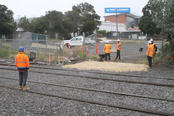ARTC workers on the tracks at West Footscray