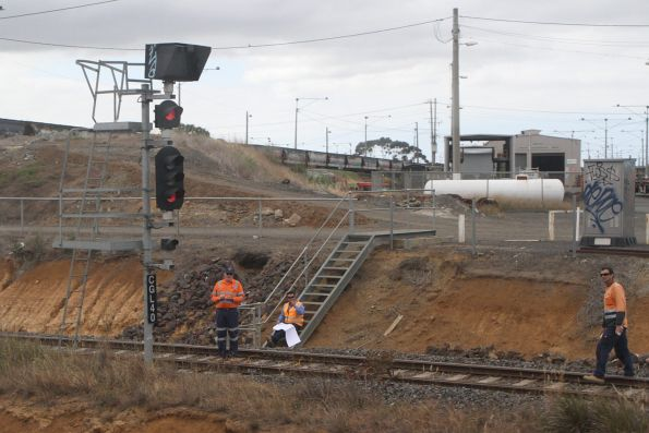 Inspecting the tracks on the Geelong Grain Loop