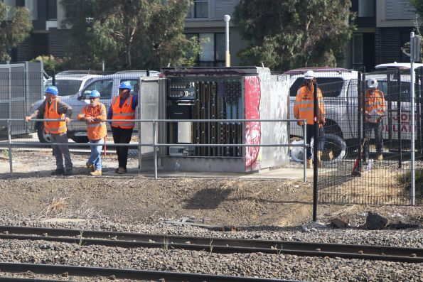 John Holland staff work on the signalling at West Footscray Junction